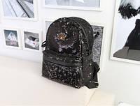 Рюкзак женский городской с черными пайетками, фото 1