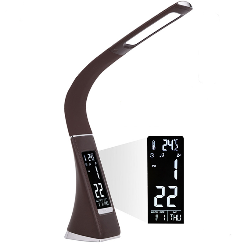 Светодиодная настольная лампа 9W 4000K, белая, с дисплеем, кожаная, 3 уровня яркости, dimmer, будильник