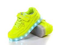 Кроссовки детские с LED подсветкой и usb, Clibee yellow neon, 28-35