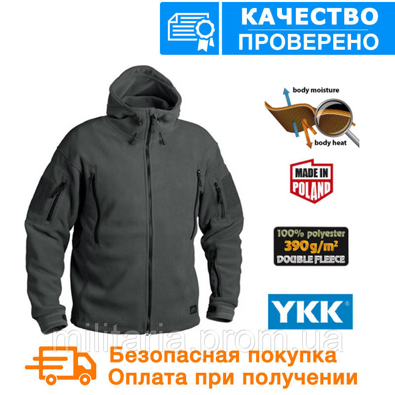 Флисовая кофта с капюшоном Helikon-Tex Patriot Heavy Fleece- Black S, M, L, XL/regular BL-PAT-HF-01)