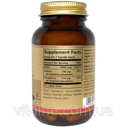 Solgar, Биотин, 5000 мкг, 50 вегетарианских капсул, фото 2