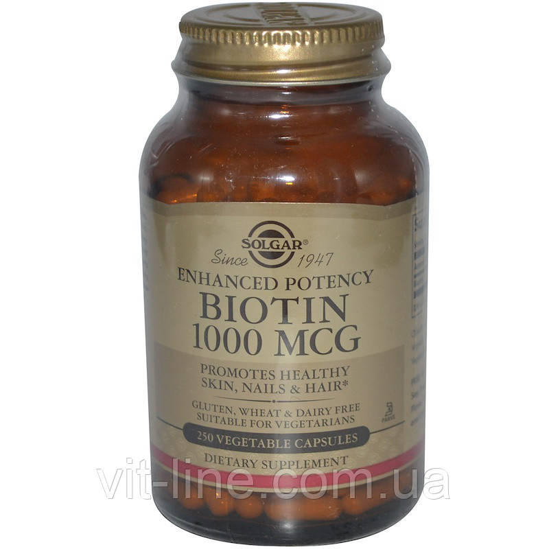 Solgar, Биотин 1000 мкг, 250 растительных капсул
