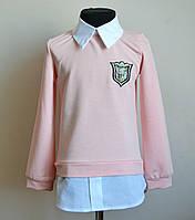 Кофта рубашка детская для девочек персикового цвета