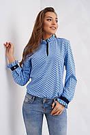 Деловая блуза с воротником жабо