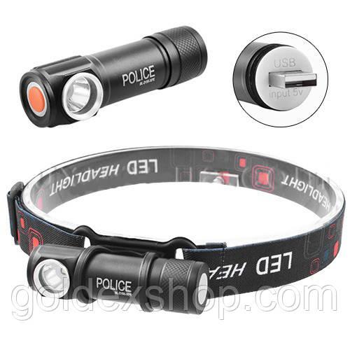 Фонарь налобный Police BL-2155-XPE, встроенный аккумулятор, ЗУ USB, магнит, комплект