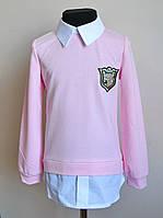 Кофта рубашка детская для девочек пудра