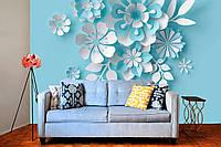 """3D фотообои """"Бело-голубые цветы на голубом """""""