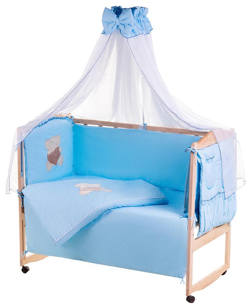 Детская постель Qvatro Ellite AE-08 аппликация  голубой (мишка сидит с коричневым сердцем)