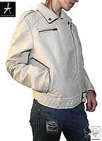 Женская кожаная демисезонная куртка Atmosphere белая S 44