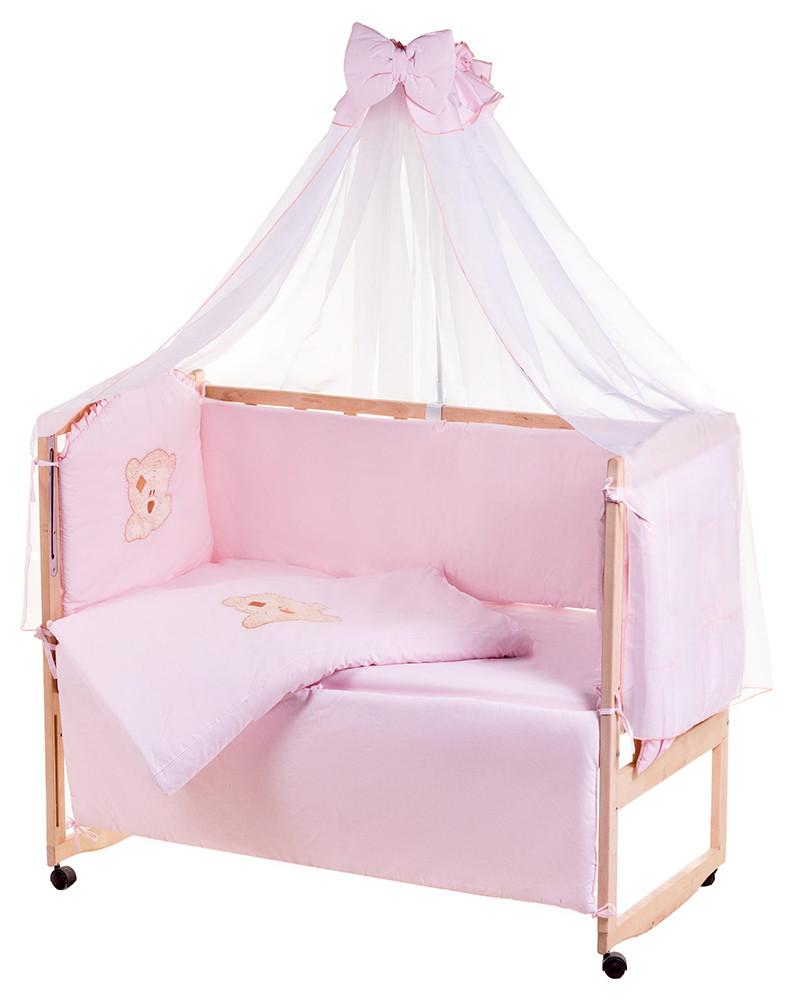 Детская постель Qvatro Ellite AE-08 аппликация  розовый (мишка мордочка штопанная)
