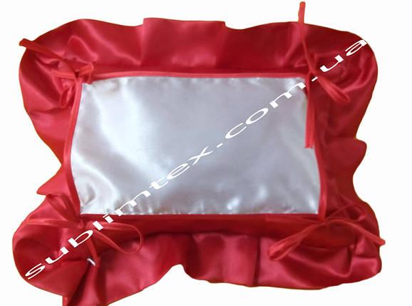 Подушка, натуральный наполнитель, с накладной вставкой на завязках для печати,размер 35х45см., цвет красный, фото 2