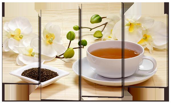 """Модульная картина """"Чай и орхидеи"""""""