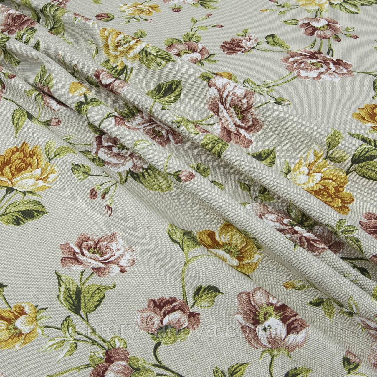 Ткань в стиле прованс крупные цветы бордо, т.карамель Испания