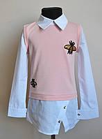 Детская кофта-рубашка для девочек пудра