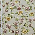 Ткань в стиле прованс крупные цветы бордо, т.карамель Испания, фото 2