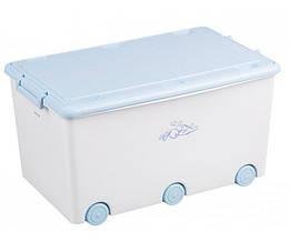 Ящик для игрушек Tega Kroliczki KR-010  белый с голубой крышкой