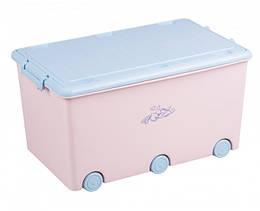 Ящик для игрушек Tega Kroliczki KR-010  розовый с голубой крышкой