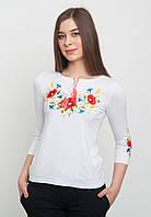 Вышитая футболка с рукавом 3/4, белая, арт. 5123