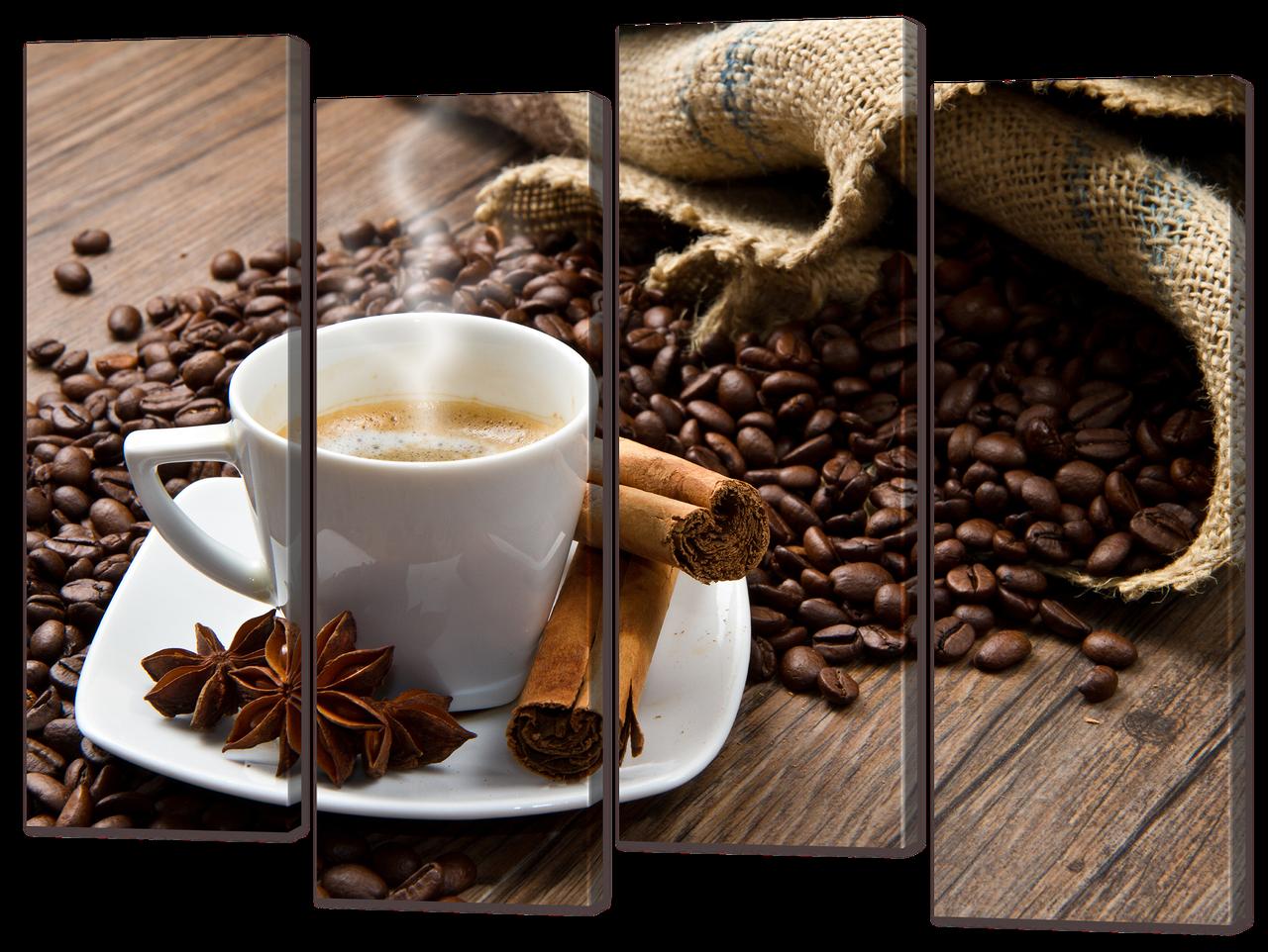 "Модульна картина ""Кориця чашка кави"""