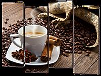 """Модульная картина """"Корица кофе чашка"""""""