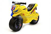 Детский Мотоцикл толокар Орион (желто-синий). Популярный транспорт для детей от 2х лет