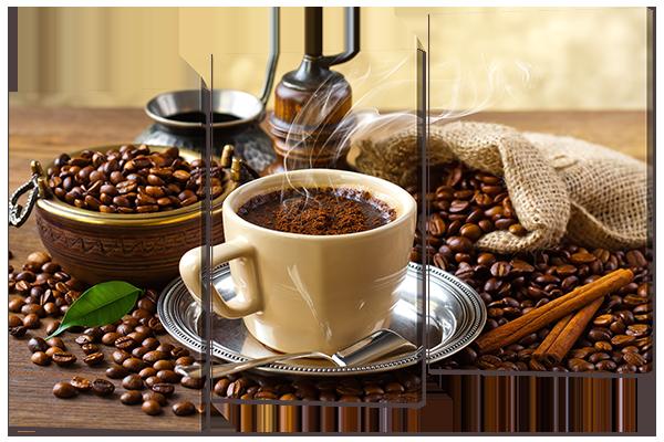 """Модульная картина """"Кофе и палочки корицы"""" 124* 86 см"""