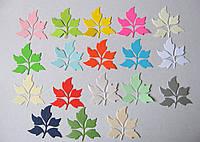 Вырубка из картона.  Пять листьев, 55х55 мм