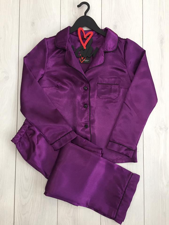 Фиолетовый комплект пижамы из атласа: рубашка и штаны ТМExclusive.