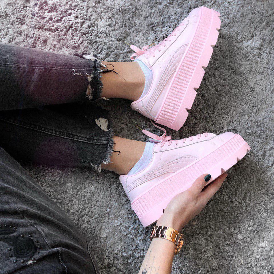 Женские кроссовки Puma x Fenty Cleated Creeper Platform Pink Leather -  Компания