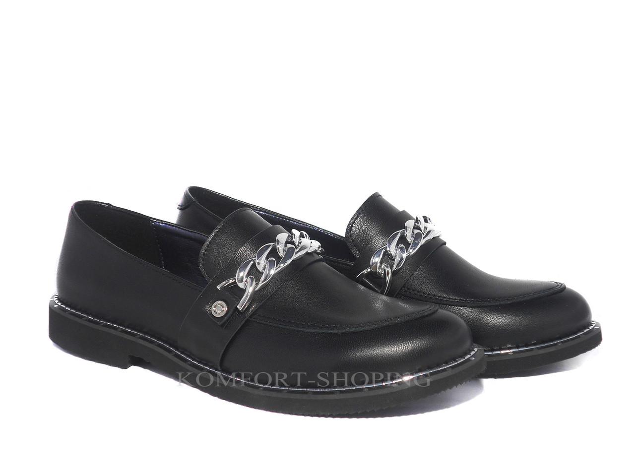 Туфли  женские кожаные, черные V 1168