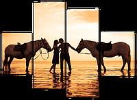 Модульная картина Влюбленная пара с лошадьми 126*93 см