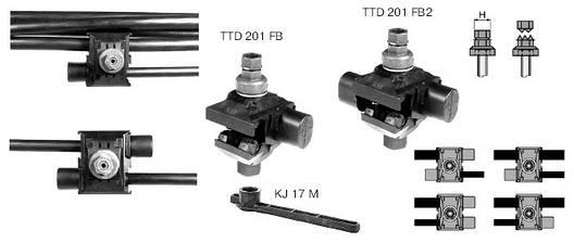 Ответвительный зажим с двусторонним прокалыванием изоляции TTD201 SICAME, фото 2