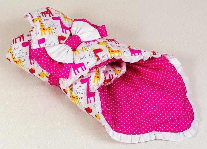 Демисезонный хлопковый конверт BabySoon Жирафики 80 х 85см розовый