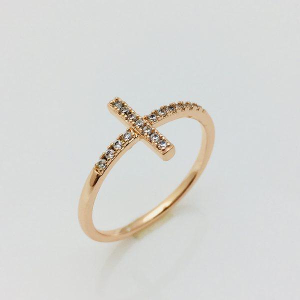 Кольцо Крестик, размер 16, 17, 18, 19 ювелирная бижутерия