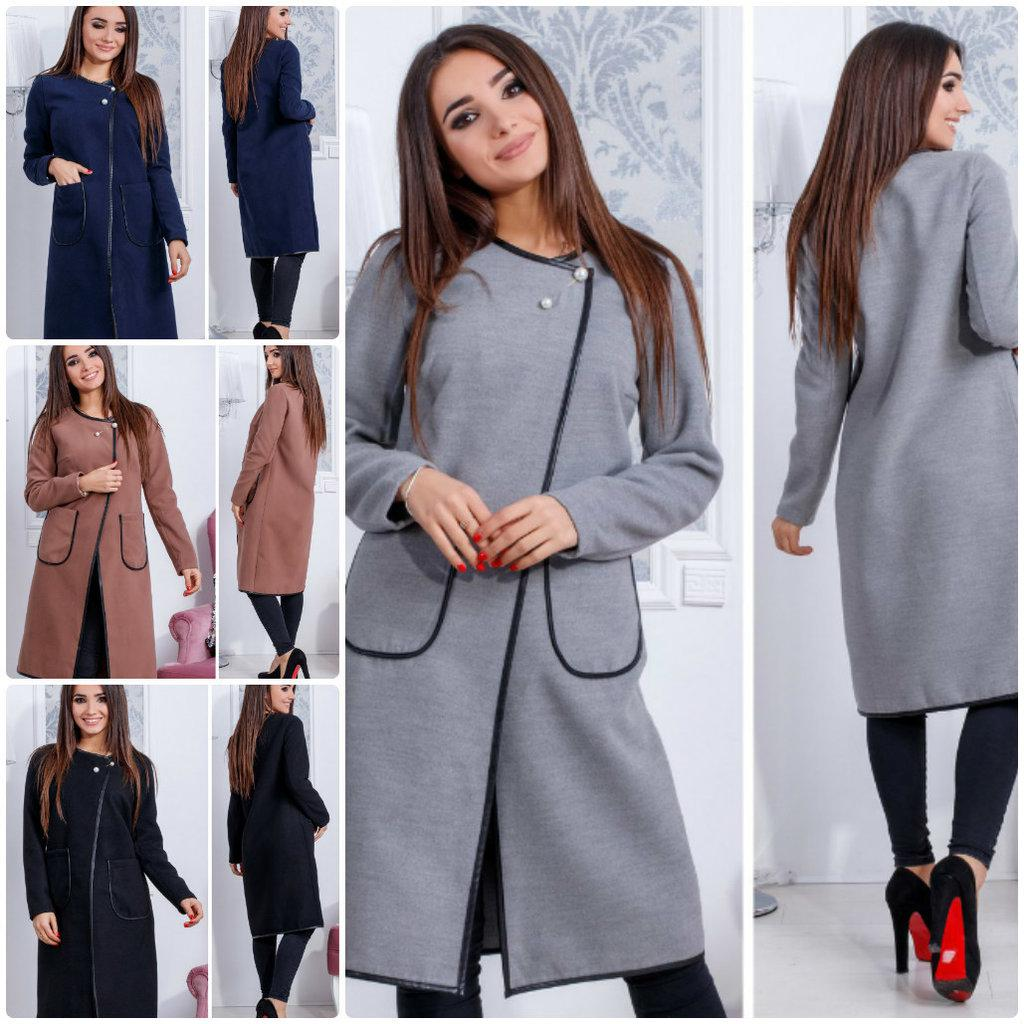 Легкое пальто-кардиган Булавка Жемчуг с накладными карманами кашемир