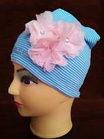 """Весенняя шапка для девочки в полоску """"Сандра"""" - 1-16Т голубой Код: 653664346"""