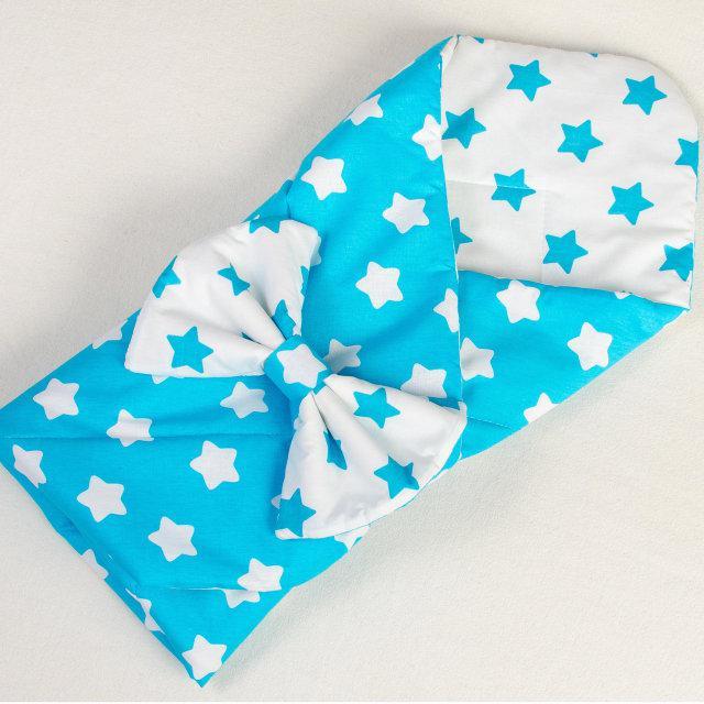 Демисезонный конверт на выписку BabySoon Лазурные звезды 80 х 85см бирюзовый