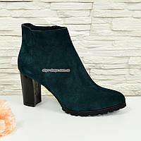 Ботинки женские зимние замшевые на устойчивом каблуке, цвет зеленый, фото 1