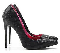 Черные женские туфли на шпильке Magnetic Black (имитация змеиной кожи) под вечерний наряд/на выпускной