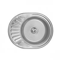 Кухонная мойка стальная Imperial овальная - (размер 600x440 мм), матовая,  толщина 0,6 мм