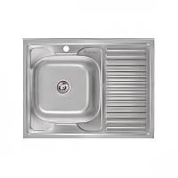 Кухонная мойка стальная Imperial прямоугольная - (размер 800x600 мм), глянцевая,  толщина 0,8 мм