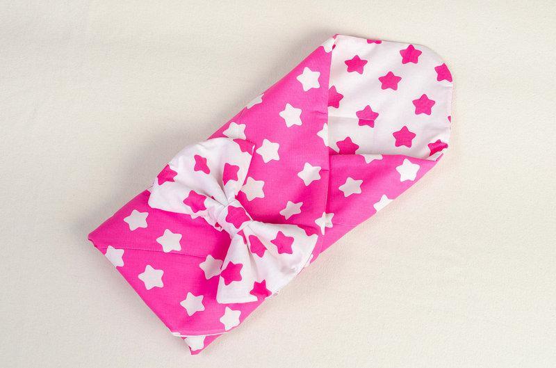 Конверт - одеяло демисезонный BabySoon Розовые звезды 80 х 85см розовый