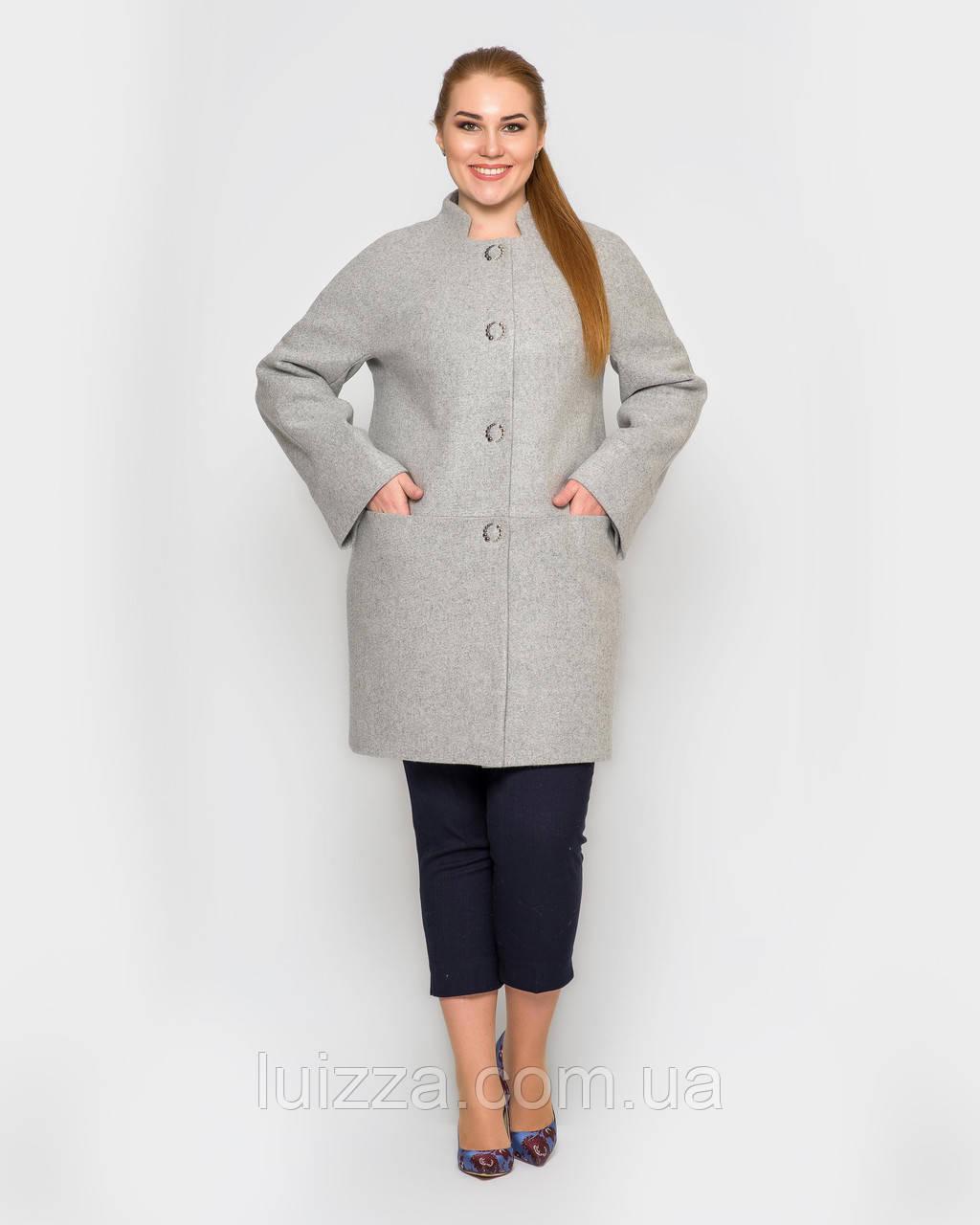 Женское полупальто с рукавом реглан, 48 - 58р серый