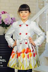 Весенне-осенний детский плащ «Тюльпан» на девочек 6-8 лет (р. 30-34 / 116-128 см) ТМ MANIFIK