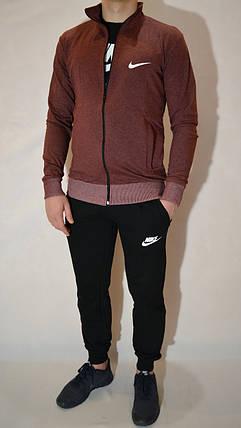 Чоловічий спортивний костюм Nike (Найк) | трикотаж, двухнитка, розміри: 44-54, колір: бордовий/черний, фото 2