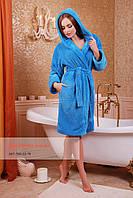 Короткий женский махровый халат