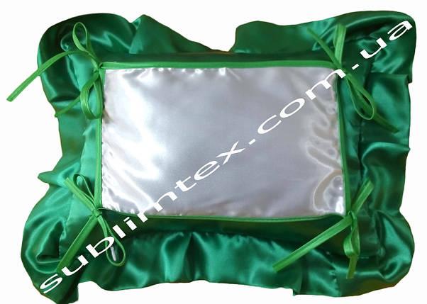 Подушка, натуральный наполнитель, с накладной вставкой на завязках для печати,размер 35х45см., цвет зеленый, фото 2
