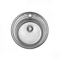 Кухонная мойка стальная ULA овальная - (размер 510x510 мм), глянцевая,  толщина 0,8 мм