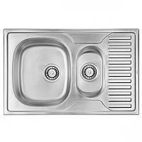 Кухонная мойка стальная ULA прямоугольная - (размер 780x500 мм), микротекстура,  толщина 0,8 мм