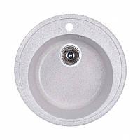 Кухонная гранитная мойка Fosto круглая - (Ø510 мм, глубина 175 мм), 1 чаша, цвет серебристый